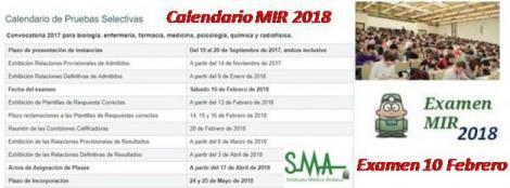 Publicado el calendario oficial del MIR 2018. Examen el 10 de Febrero.
