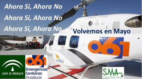 El helicóptero del 061 deja de nuevo hasta mayo su base en el hospital de Jerez.