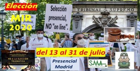 La elección MIR 2020 será presencial del 13 al 31 de julio en Madrid.