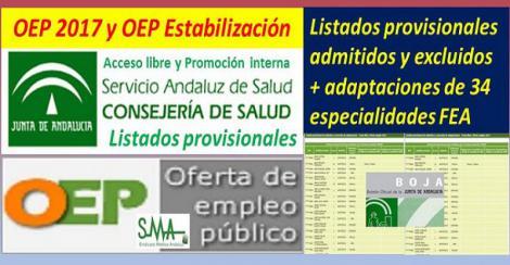 Publicados los listados provisionales de admitidos y excluidos en la OEP 2017 y estabilización de 34 especialidades de FEA (libre y promoción interna).