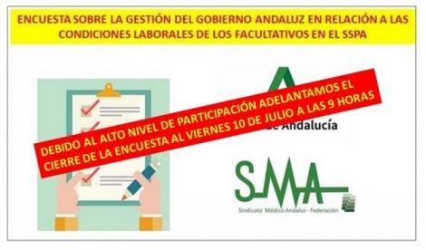 EL SINDICATO MÉDICO ANDALUZ LANZA UNA ENCUESTA PARA CONOCER LA OPINIÓN DE LOS FACULTATIVOS. Mañana viernes a las 9 horas se cierra la participación.