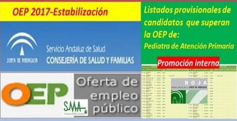 OEP 2017-Estabilización. Listado provisional de personas que superan el concurso-oposición (promoción interna) de Pediatra de Atención Primaria.