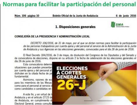 Normas para facilitar la participación del personal de la Junta de Andalucía en las próximas elecciones.
