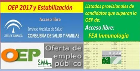 OEP 2017-Estabilización. Listado provisional de personas que superan el concurso-oposición de FEA de Inmunología (acceso libre).