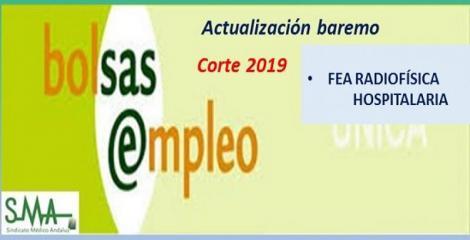 Bolsa. Publicación de listas de aspirantes con actualización del baremo de méritos (corte 2019) de FEA de Radiofísica Hospitalaria.