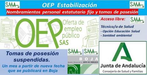OEP Estabilización. Nombramientos de personal estatutario fijo y toma de posesión, de Técnico de Salud (Sanidad Ambiental y Educación para la Salud), acceso libre.