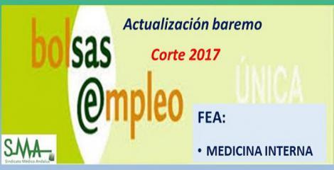 Bolsa. Publicación de las listas de aspirantes con actualización del baremo de méritos (corte 2017) de FEA Medicina Interna.
