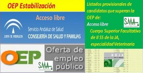 OEP Estabilización. Listado provisional de personas que superan el concurso-oposición del Cuerpo Superior Facultativo de Instituciones Sanitarias de la Junta de Andalucía, especialidad Veterinaria, acceso libre.