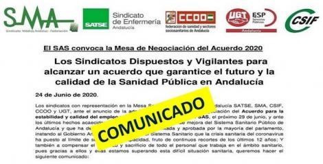 Los sindicatos presentes en Mesa Sectorial, dispuestos y vigilantes para alcanzar un acuerdo que garantice el futuro y calidad de la sanidad pública en Andalucía.
