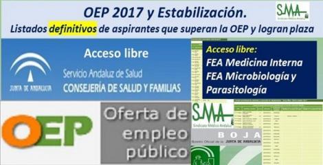 OEP 2017-Estabilización. Listados definitivos de personas aspirantes que superan el concurso-oposición y logran plaza, de  FEA Medicina Interna y FEA Microbiología y Parasitología, acceso libre.