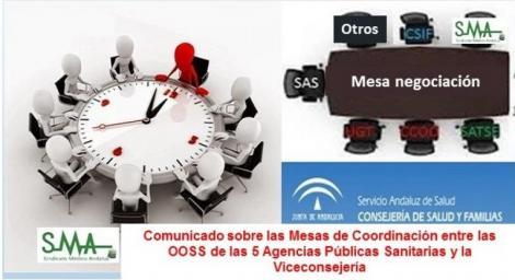 Comunicado sobre las Mesas de Coordinación entre las Organizaciones Sindicales de las 5 Agencias Públicas Sanitarias y la Viceconsejería de Salud y Familias.