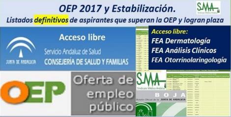 OEP 2017-Estabilización. Listados definitivos de personas aspirantes que superan el concurso-oposición y logran plaza, de FEA Dermatología, Análisis Clínicos y Otorrinolaringología, acceso libre.