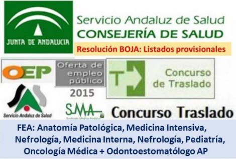 Publicado en el BOJA una resolución del Concurso de Traslado OPE 2013-2015 con listados provisionales de 7 especialidades médicas.