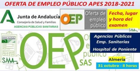 Publicado el lugar, fecha y hora de los exámenes de la OEP 2018-2021 convocados por la APES Hospital de Poniente, para distintas especialidades de FEA, acceso libre.