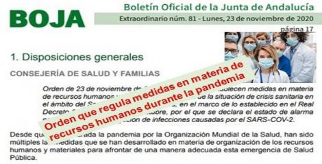 Publicada en el Boja la nueva Orden que sustituye a la del 8 de Noviembre y que regula medidas en materia de recursos humanos durante la pandemia.