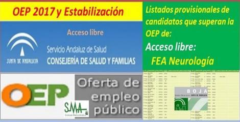 OEP 2017-Estabilización. Listado provisional de personas que superan el concurso-oposición de FEA Neurología, acceso libre
