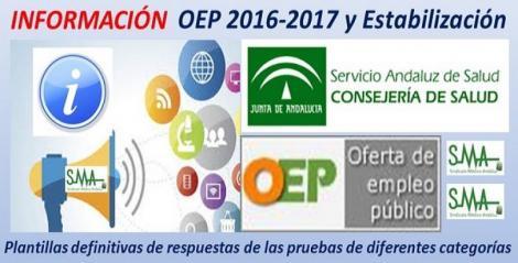 Seguimos con más plantillas definitivas de respuestas de las pruebas de la OEP 2016-17 y Estabilización de especialidades de FEA, Epidemiólogo de AP, Cuerpo A4 y TS.