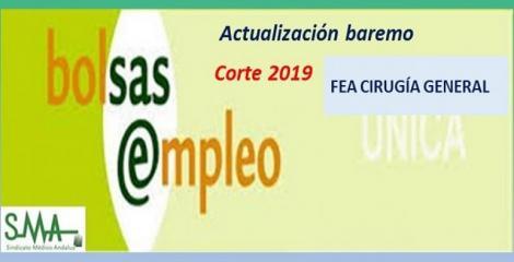 Bolsa. Publicación de listas de aspirantes con actualización del baremo de méritos (corte 2019) de FEA de Cirugía General.