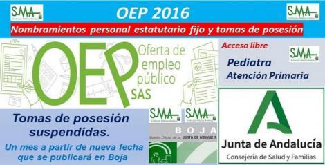 OEP 2016. Nombramientos de personal estatutario fijo y toma de posesión, de Pediatra de Atención Primaria, acceso libre.