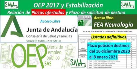 Publicada en el BOJA la aprobación de listados definitivos, la relación de las plazas ofertadas y el plazo para solicitar destino de la OEP 2017-Estabilización de FEA Neurología, acceso libre.