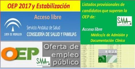 OEP 2017-Estabilización. Listado provisional de personas que superan el concurso-oposición de Médico/a de Admisión y Documentación Clínica, acceso libre.