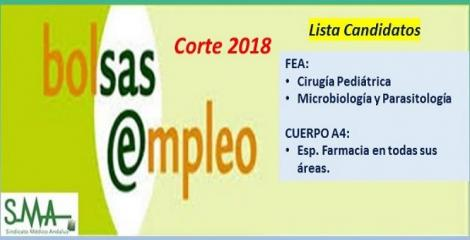 Bolsa. Publicación del listado definitivo de candidatos (corte 2018) de FEA de Microbiología, Cirugía Pediátrica y Cuerpo A4, especialidad Farmacia.