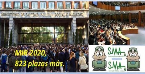 Nuevas plazas para el MIR 2020: Sanidad acredita 823 vacantes para un total de 7620 plazas.