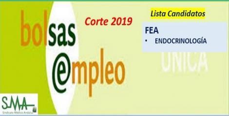 Bolsa. Listas definitivas de candidatos (corte 2019) de FEA de Endocrinología.