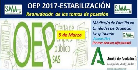 Reanudación de las tomas de posesión aplazadas de Médico/a de Familia en Unidades de Urgencia Hospitalaria (1º destino adjudicado).