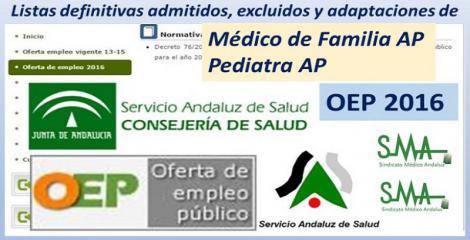 OEP 2016: Listados definitivos de personas admitidas y excluidas de Médico de Familia AP y Pediatra AP, en acceso libre y en promoción interna.