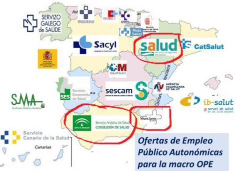 Anuncio de oposiciones sanitarias: Andalucía, Murcia y Aragón
