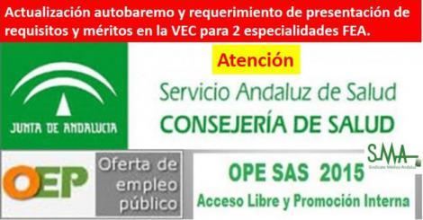 OPE 2013-15: Nuevo requerimiento de documentación acreditativa de requisitos y méritos en algunas especialidades.