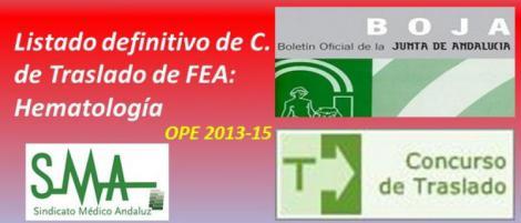 Publicada en el BOJA la Resolución con el listado definitivo del Concurso de Traslado de FEA: Hematología y Hemoterapia.