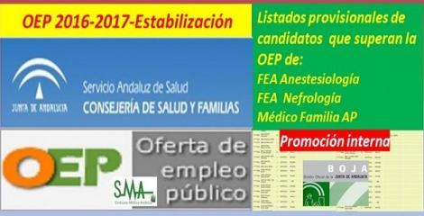 OEP 2016-2017-Estabilización. Disponible el listado provisional de personas que superan el concurso-oposición (promoción interna) correspondientes a FEA de Anestesiología, Nefrología y Médico de Familia de AP.