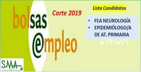 Bolsa. Publicación del listado definitivo de candidatos (corte 2019) de FEA de Neurología y de Epidemiólogo/a de AP.