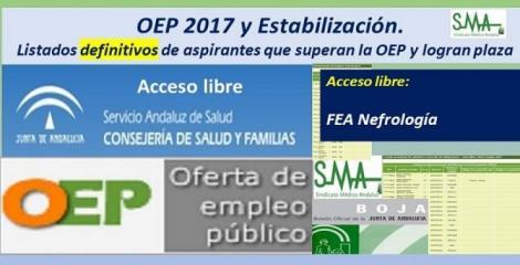 OEP 2017-Estabilización. Listados definitivos de personas aspirantes que superan el concurso-oposición y logran plaza, de  FEA Nefrología, acceso libre.