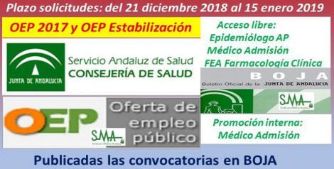 Publicadas en el Boja las convocatorias de OEP 2017 y OEP Estabilización (acceso libre) y la de OEP 2017 (promoción interna) de varias categorías de facultativos.