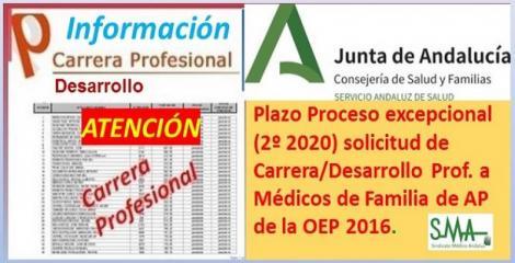 Anuncio del inicio del plazo del proceso excepcional (2º 2020) para solicitar Carrera/Desarrollo profesional a los Médicos de Familia de AP afectados por la suspensión de la toma de posesión OEP 2016.