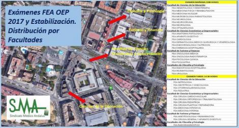 Distribución por especialidades y facultades de los exámenes de FEA de la OEP 2017 y Estabilización a celebrar el 27 de Octubre.