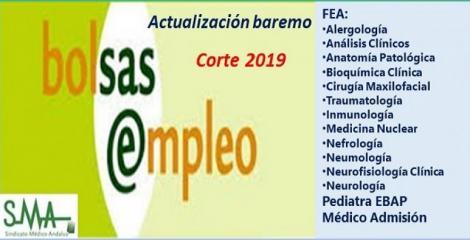 Bolsa. Publicación de listas de aspirantes con actualización del baremo de méritos (corte 2019) de diferentes categorías AP y FEA.