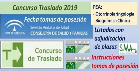 Concurso de Traslados 2019. Publicado en el Boja la resolución definitiva con el listado de FEA de Otorrinolaringología y Bioquímica Clínica y la fecha de toma de posesión.