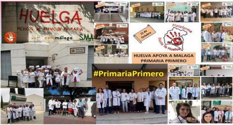 Apoyo masivo en los centros de salud de Andalucía de la huelga de Málaga por la Atención Primaria.