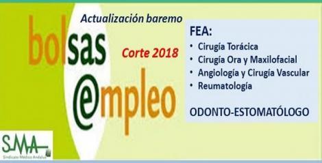 Bolsa. Publicación de listas de aspirantes con actualización del baremo de méritos (corte 2018) de FEA Cirugía Torácica, Maxilofacial, Angiología y Reumatología y Odonto-Estomatólogo.