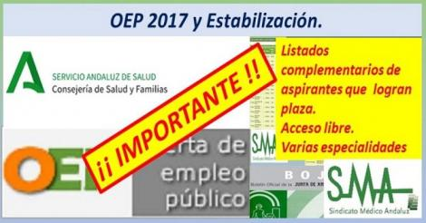Nuevos nombramientos de la OEP ordinaria y extraordinarias de las plazas no cubiertas.