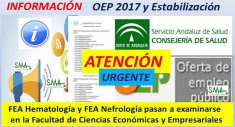 ATENCIÓN OEP 2017 y ESTABILIZACIÓN!! Cambio de Facultad para los exámenes del sábado 27 de octubre para las especialidades de FEA Hematología y Nefrología.