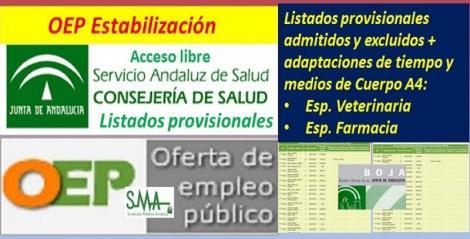 Publicados los listados provisionales de admitidos y excluidos en la OEP de Estabilización del Cuerpo A4, especialidades Veterinaria y Farmacia.