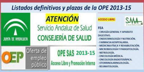 Publicadas las listas definitivas y plazas fijas de la OPE 2013-15 de otras 10 especialidades de FEA, acceso libre.