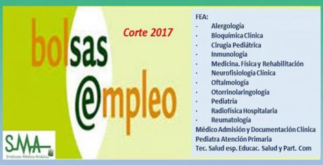 Bolsa. Publicación de listas de aspirantes con actualización del baremo de méritos (corte 2017) de diferentes especialidades de FEA, Pediatra AP, Médico Admisión y Técnico Salud ESyPC.