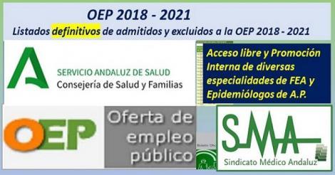 Listas definitivas de admitidos OEP 2018-2021 de distintas especialidades de FEAs y Epidemiólogo de AP, turno libre y promoción interna.