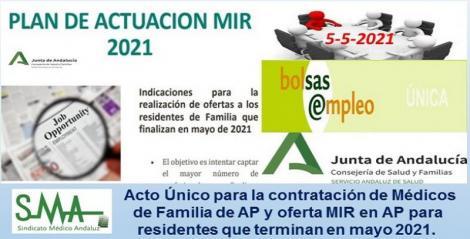Acto Único para la contratación de Médicos de Familia de AP y oferta MIR en AP para residentes que terminan su formación en mayo 2021.